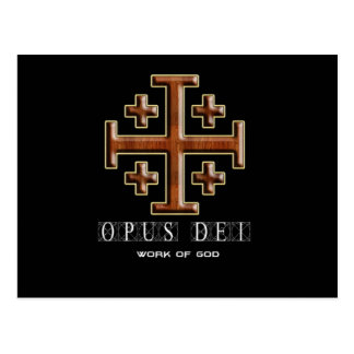 Ver 2 – Jerusalem Cross – Opus Dei - Black Back Postcard