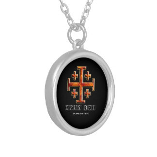 Ver 3 – Jerusalem Cross – Opus Dei - Black Back Round Pendant Necklace