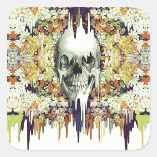 Ver color, amarillo que derrite el cráneo floral pegatina cuadrada