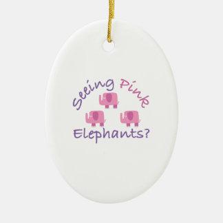 ¿Ver elefantes rosados? Adorno Ovalado De Cerámica