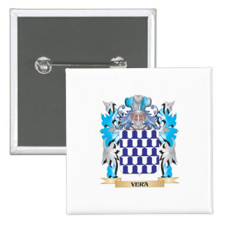 Vera Coat of Arms - Family Crest 2 Inch Square Button