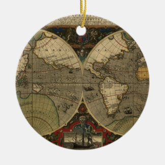 Vera Totius Expeditionis Map Double-Sided Ceramic Round Christmas Ornament