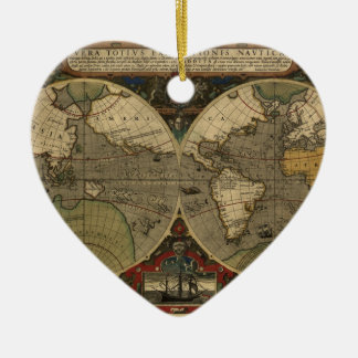 Vera Totius Expeditionis Map Double-Sided Heart Ceramic Christmas Ornament