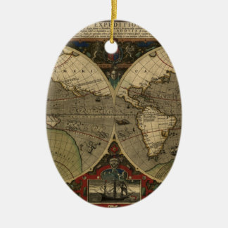 Vera Totius Expeditionis Map Double-Sided Oval Ceramic Christmas Ornament