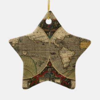 Vera Totius Expeditionis Map Double-Sided Star Ceramic Christmas Ornament