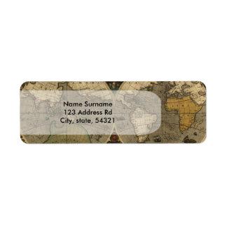 Vera Totius Expeditionis Map Return Address Label