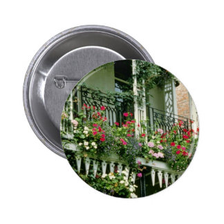 Verandah With Hanging Baskets - Geraniums, 2 Inch Round Button