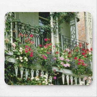 Verandah With Hanging Baskets - Geraniums, Mouse Pad