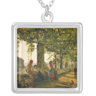 Verandah with twisted vines, 1828 silver plated necklace