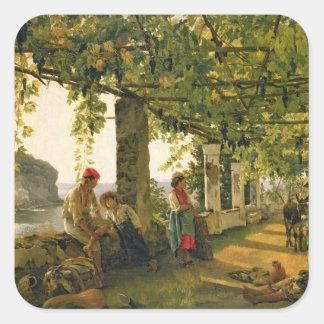 Verandah with twisted vines, 1828 square sticker