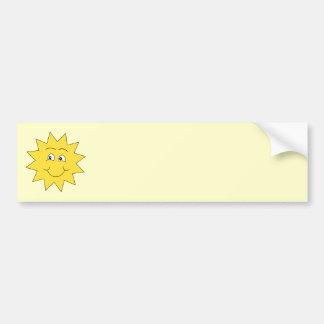 Verano amarillo brillante Sun. Cara sonriente Etiqueta De Parachoque