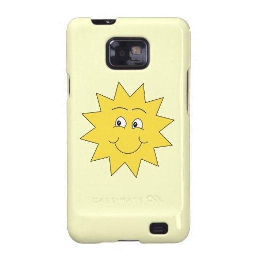 Verano amarillo brillante Sun. Cara sonriente Galaxy SII Carcasa