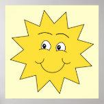 Verano amarillo brillante Sun. Cara sonriente Impresiones