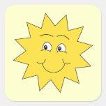 Verano amarillo brillante Sun. Cara sonriente Pegatina Cuadrada