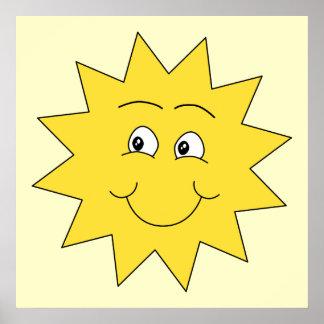 Verano amarillo brillante Sun. Cara sonriente Póster