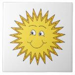 Verano amarillo Sun con una cara feliz Azulejos