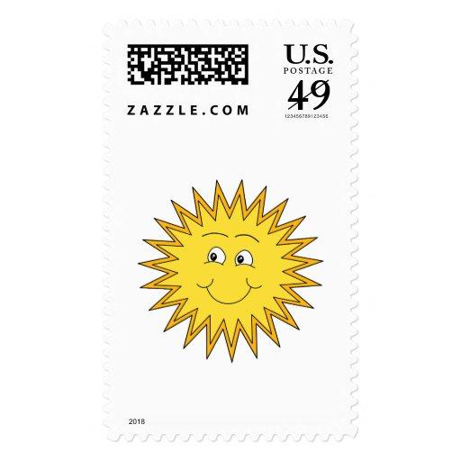 Verano amarillo Sun con una cara feliz Franqueo