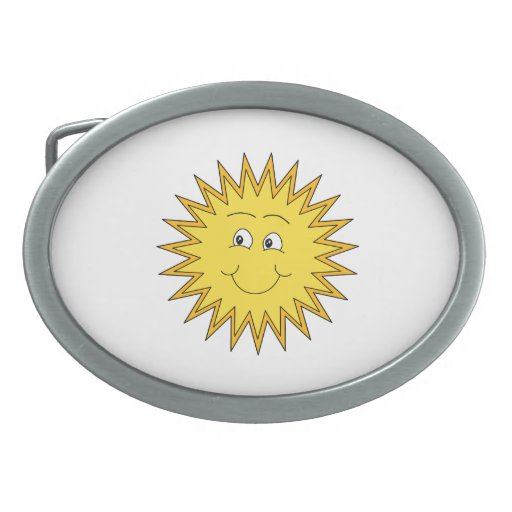 Verano amarillo Sun con una cara feliz Hebilla De Cinturón Oval