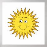 Verano amarillo Sun con una cara feliz Impresiones
