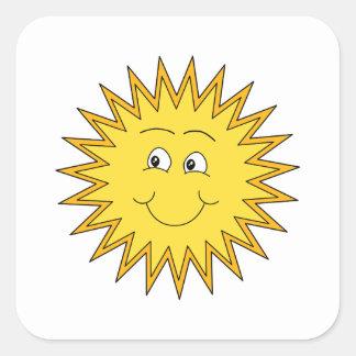 Verano amarillo Sun con una cara feliz Pegatina Cuadrada