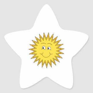 Verano amarillo Sun con una cara feliz Pegatina En Forma De Estrella