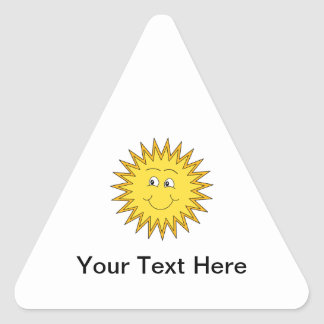 Verano amarillo Sun con una cara feliz Pegatina Triangular