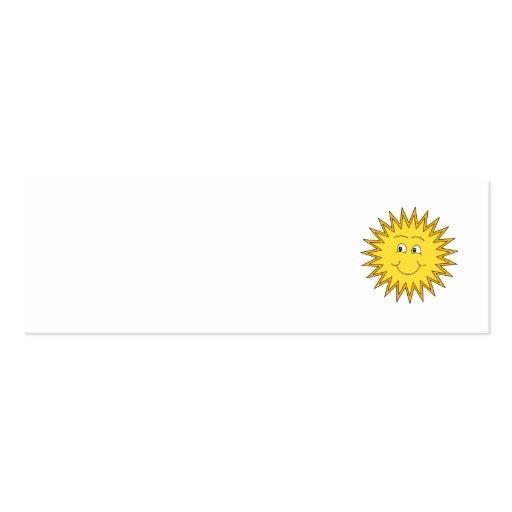 Verano amarillo Sun con una cara feliz Plantillas De Tarjetas De Visita