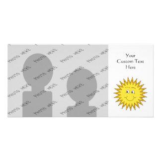 Verano amarillo Sun con una cara feliz Tarjetas Fotograficas Personalizadas