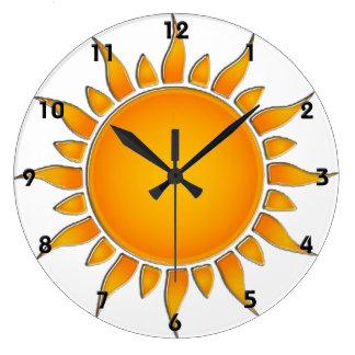 Verano amarillo y anaranjado radiante Sun Reloj Redondo Grande