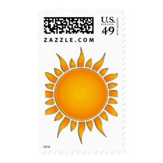 Verano amarillo y anaranjado radiante Sun Sellos