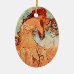 Verano de Alfonso Mucha Ornamento Para Arbol De Navidad