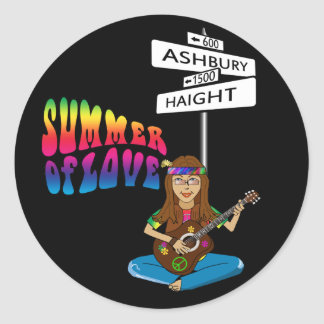 Verano de Haight Ashbury del amor Etiqueta Redonda