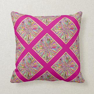 Verano de la flor del confeti en tela escocesa ros cojines