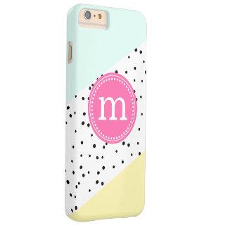 Verano de la menta, rosado y amarillo monograma funda para iPhone 6 plus barely there