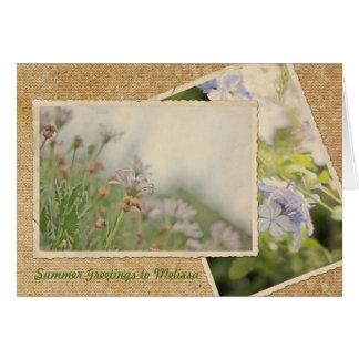 Verano de la postal del vintage del Hydrangea de l Tarjeta De Felicitación