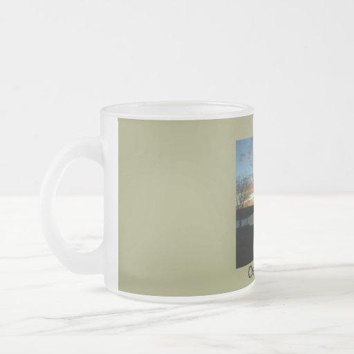 Verano de la puesta del sol taza de café