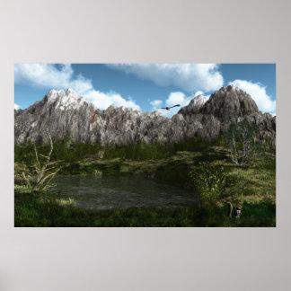 Verano de las montañas rocosas - mural ENORME de l Posters