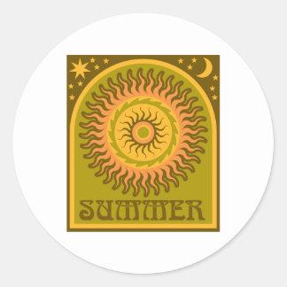 Verano de oro Sun Pegatina Redonda