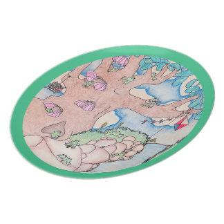 Verano del Froggy en la placa verde de la melamina Plato