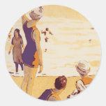 Verano del vintage en la playa pegatina redonda