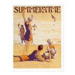 Verano del vintage en la playa postal
