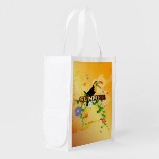 Verano, diseño tropical bolsa de la compra