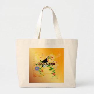 Verano, diseño tropical bolsa tela grande