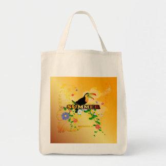 Verano, diseño tropical bolsa tela para la compra