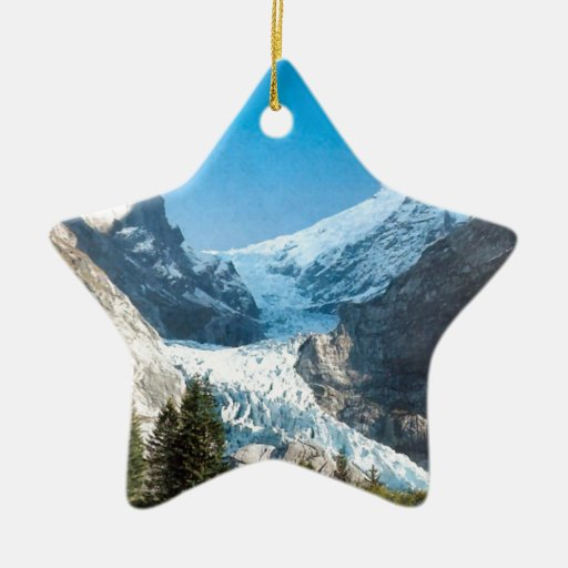 Verano en las montañas, glaciar en el Jungfrau Adorno De Cerámica En Forma De Estrella