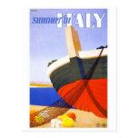 """""""Verano en poster del viaje del vintage de Italia"""" Tarjetas Postales"""