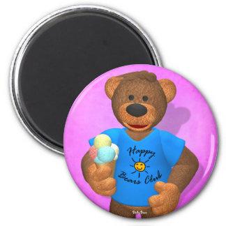 Verano feliz de los osos pequeños imán redondo 5 cm