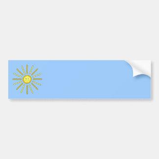Verano feliz Sun. Amarillo y azul Pegatina De Parachoque