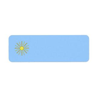 Verano feliz Sun. Amarillo y azul Etiqueta De Remite