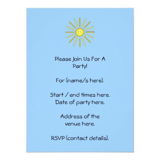 Verano feliz Sun. Amarillo y azul Invitación 16,5 X 22,2 Cm